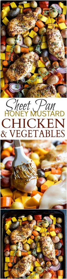 Sheet Pan Honey Mustard Chicken & Vegetables a meal that's healthy, easy, absolutely delicious, only 30 minutes and such an easy clean up! | joyfulhealthyeats.com #glutenfree #paleo