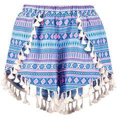Lisa Tassel Trim Woven Aztec Runner Shorts ❤ liked on Polyvore featuring shorts, tassel shorts, woven shorts, aztec shorts and aztec print shorts