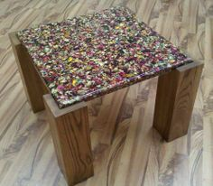 Resin table top with embedded rose petals by Fogliart