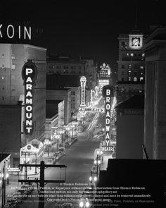 Broadway photos Portland Oregon Downtown photo photographs historic black and white street photography noir 1948 1940s.jpg
