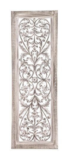 "48"" White Shabby Moroccan Leaf Wood Wall Art Panel French Country Decor"