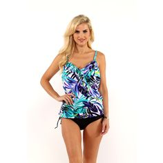 a00a038e2cc9d Miraclesuit Tropical Print Ruffle Tankini Top with Drawstring Bikini Bottom  Fabric Panels, One Piece Swimwear