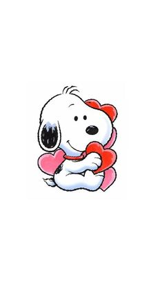 BABY SNOOPY WITH HEARTS, IPHONE WALLPAPER BACKGROUND