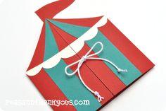 Circus {Boy} Folded Invitation-circus tent boy invitation birthday handmade die cut