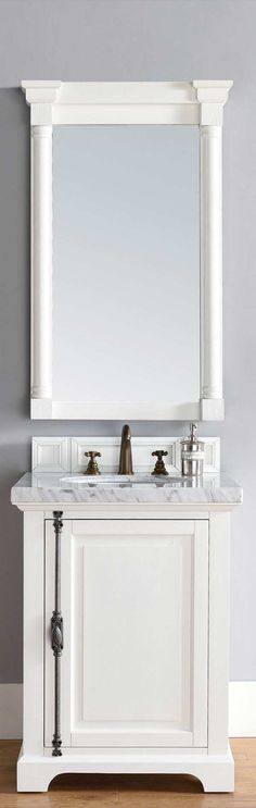 "James Martin Furniture - Providence 26"" Cottage White Single Vanity with 4 CM Carrara White Marble Top - 238-105-V26-CWH-4CAR"