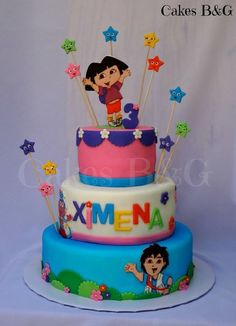 Dora the explorer and Diego Birthday cake