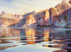 Rock Creek Afternoon original watercolor painting of Lake Powell waterscape by David Drummond at Wilcox Gallery