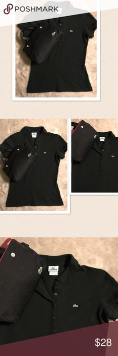 """🆕 Women's Lacoste Polo 🆕 Women's Lacoste Polo. Lacoste Handbag is available for sale. You will receive this Lacoste Polo shirt. Size: 40. Pit- pit: 17.5"""", Length: 23"""". Material: 94% cotton 6% elastase. Color: Black. Store display model. New without tag. Lacoste Tops"""
