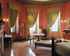 This is the Damask Room,named for the damask silk curtains