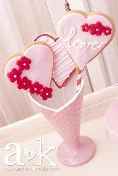Love this cookies pops from a Valentine's Day Party!  See more party ideas at CatchMyParty.com!