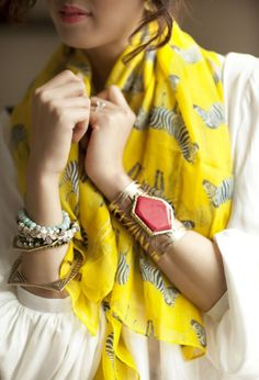 scarf and cuffs and  lots of bangles