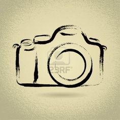 Illustration of DSLR Camera Illustration with Brushwork vector art, clipart and stock vectors. Camera Sketches, Camera Drawing, Camera Outline, Kamera Tattoos, Logo Foto, Camera Illustration, Camera Logo, Tattoo Camera, Wrist Tattoo