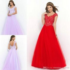 Wholesale Bridal Party Dresses - Buy 2015 Modest Cap Sleeve Red Lavender Peach Tulle Ball Gown Backless Prom Debutante Quinceanera Dresses Cheap Beaded Lace Appliques Party Gown, $109.0 | DHgate.com