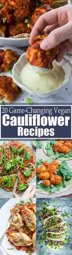 These 20 stunning vegan cauliflower recipes will definitely change the way you look at cauliflower! You can make so many creative recipes with it! All of these recipes are super healthy and so incredibly delicious! BIG yum!! Vegan food can be so AMAZING! Find more vegan recipes at veganheaven.org