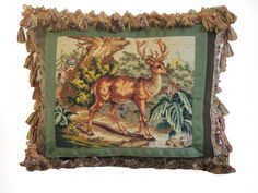 Early 20th C. Needlepoint with Deer