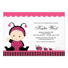 Pink Lady Bug Baby Shower Invitation