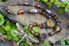 Autumn Dragonfly Necklace victorian style by HiddenTreasury12