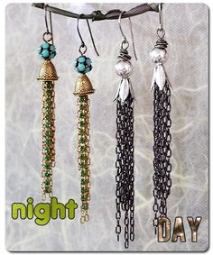 Simple and Cute DIY Jewelry Ideas - Day And Night Tassel Earring