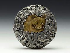 Antique silver cat button