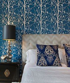 Start with a showstopper on the walls like a cobalt blue botanical print.