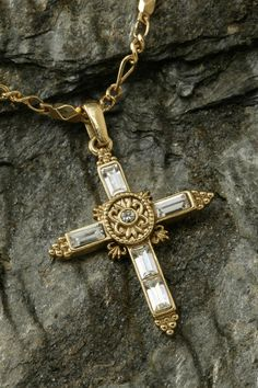 Elegant Crystal Cross Gold Necklace – Celebrate Faith