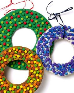 kids crafts christmas wreaths could do something like this out of cardboard, paint, pom poms and ribbon