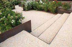 Exterior Stairs Steel Retaining Walls 69 Ideas For 2019 Steel Retaining Wall, Retaining Walls, Corten Steel, Landscape Elements, Landscape Design, Garden Edging, Garden Paths, Modern Landscaping, Garden Landscaping