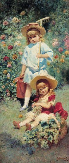 Portrait of Artist's Children - Konstantin Makovsky Art And Illustration, Gravure Illustration, Illustrations, Russian Painting, Russian Art, Painting Art, Art Amour, Claude Monet, Beautiful Paintings