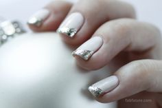 White & Silver Christmas Ornament Nail Art Manicure
