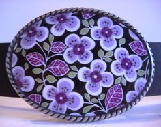 Belt Buckle  Purple Pansy   Oval by MnMTreasures, $20.00