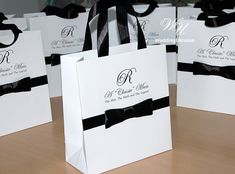 20 Gift Bags with satin ribbon and male bow A by WeddingUkraine