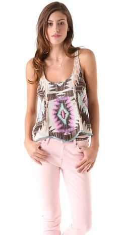 Free People Crystallized Embroidered Tank
