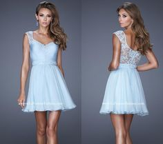 La Femme style 20618 ~ homecoming dress ~ lace accented straps and back bodice ~ jewel accents ~ natural waist ~ beautiful dress ~ short prom dress ~ two straps ~ jewel accented lace ~