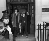 Brian Jones and Prince Stanislas Klossowski De Rola emerging from court 1967. This building is now a Publishing company where I used to work. I thought of Brian every day when I opened those doors and gate.
