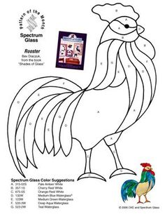 Pattern only. This Stained Glass rooster would make a great applique pattern. Stained Glass Patterns Free, Stained Glass Quilt, Stained Glass Birds, Faux Stained Glass, Stained Glass Projects, Free Mosaic Patterns, Free Pattern, Applique Patterns, Applique Quilts
