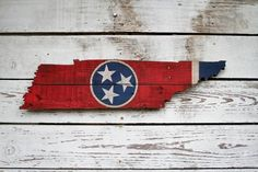 Rustic Tennessee Flag Made from Reclaimed Wood Vintage Flowers Wallpaper, Flower Wallpaper, Pallet Flag, State Of Tennessee, Star Decorations, Christmas Decorations, Cute Paintings, Handmade Signs, Wooden Door Hangers
