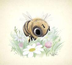 Little Worker Bee 8x8 print by Sydney Hanson #PentwaterPaper on Etsy♥•♥•♥