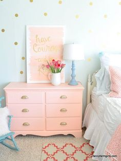 Who could use a little simplifying in your life? Well here's your chance to do just that! You've probably seen our favorite girls farmhouse bedroom. Well , we want to share with you one small/big change that makes us love it even more! Shabby Chic Bedrooms, Trendy Bedroom, Baby Bedroom, Bedroom Decor, Bedroom Ideas, Coral Mint Bedroom, Bedroom Girls, Dream Bedroom, Bedroom Designs