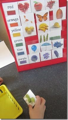 She has some AWESOME ideas on here for kids! Little Hands, Big Work.this could be done with magnets and would be a lot of fun for the kids. Preschool Colors, Teaching Colors, Preschool Kindergarten, Preschool Learning, Classroom Activities, Learning Activities, Preschool Activities, Kids Learning, Autism Preschool