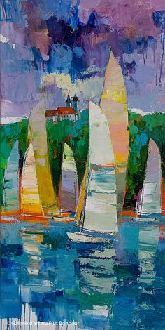 Artistic Mugs with Famous Paintings Iosif Derecichei, 'Sailing on Lake Balaton', x Colorful Paintings, Beautiful Paintings, Contemporary Paintings, Abstract Landscape, Landscape Paintings, Abstract Art, Pictures To Paint, Art Pictures, Art Is Dead
