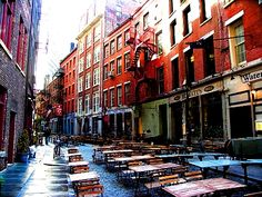 Stone Street, New York City    Great food, great atmosphere. One of my favorite NYC summer spots :)