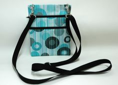 Teal circles with Black polka dot Handmade Fabric Wallet Crossbody Bag, Passport, wallet sling or Purse made from Disney Fabric by TwistedThreadsQuilts on Etsy