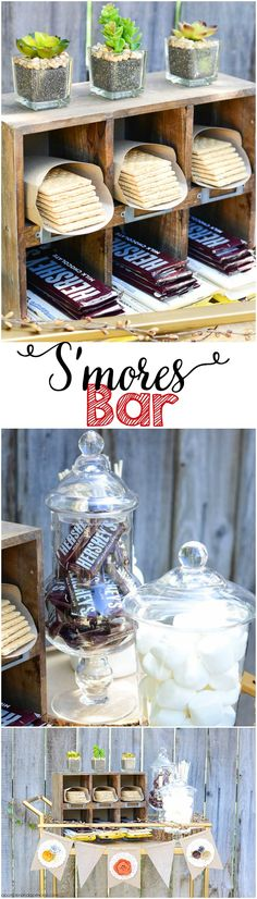 Bar - Summer Party A DIY S'mores bar is great for a summer celebration!A DIY S'mores bar is great for a summer celebration! Grad Parties, Summer Parties, Holiday Parties, Bonfire Parties, Dessert Party, Party Drinks, Bbq Party, Bar A Bonbon, Lumberjack Party