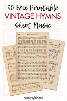 Perfect for custom wall art, DIY cr… 30 FREE printable vintage hymns sheet music. Perfect for custom wall art, DIY craft projects, Christmas ornaments, and choir books. Sheet Music Crafts, Sheet Music Book, Vintage Sheet Music, Vintage Sheets, Music Books, Music Sheets, Sheet Music Ornaments Diy, Sheet Music Decor, Framed Sheet Music