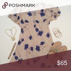 """Free People Melanie Pearl Combo mini dress """"Pearl combo"""" dress (pale pink with blue flowers), size 2, overall length 31"""", pale pink inner lining, 100% rayon dress and lining, machine wash cold. Left side zipper, has side pockets, cute shoulder ties. Brand new with tags so it's in excellent condition. No damage/fraying/stains. Has been stored in a non-smoking/pet-free home. Necklace, bracelets, shoes not included. No trades or PP. *15% off bundles of 2+ items!* Free People Dresses"""