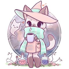 ❄️✨ I wanna draw more animals as witches! S… ✨❄️ Winter Kitty Witch! ❄️✨ I wanna draw more animals as witches! Cute Animal Drawings Kawaii, Cute Kawaii Animals, Cute Drawings, Cute Animals To Draw, Chibi Cat, Cute Anime Chibi, Anime Cat, Manga Kawaii, Kawaii Art