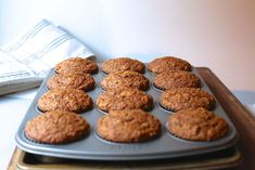 Adapted from Bob's Red Mill, these muffins are the perfect way to start a day. Packed with fruit, nuts, and coconut, they're delicate and moist enough to convert any bran muffin hater. Croissants, Muffin Recipes, Breakfast Recipes, Eat Breakfast, Breakfast Ideas, Breakfast Muffins, Bread Recipes, Cinnamon Sugar Muffins, Bran Muffin Recipe With Molasses
