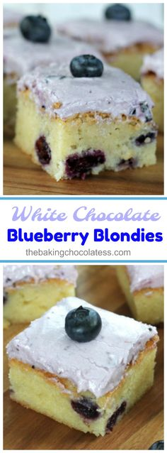 White Chocolate Blueberry Blondies  - These thick…