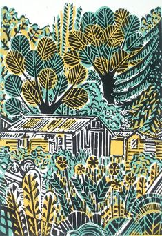 "Wilderness with Shed Original Lino Print. An original three colour hand printed linocut from a recent series of ""shed"" studies. Inspired by a local walk which encompasses an allotment area - well managed by keen vegetable growers, a wildernes. Illustrations, Illustration Art, Linocut Prints, Art Prints, Garden Painting, Printmaking, Print Patterns, Screen Printing, Art Projects"