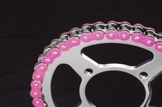 hot metallic pink motorcycle chain